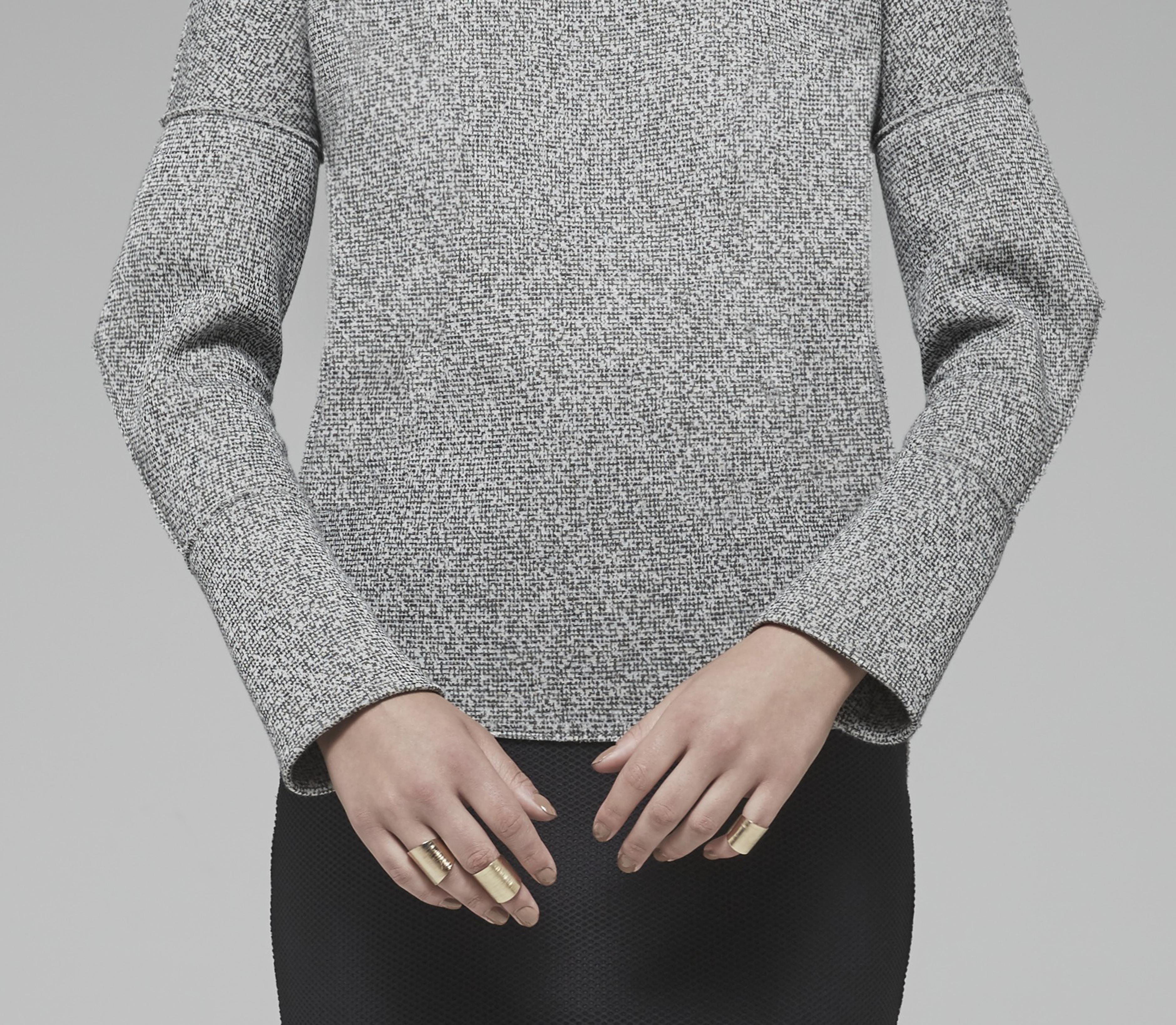 Black and White Tweed Top