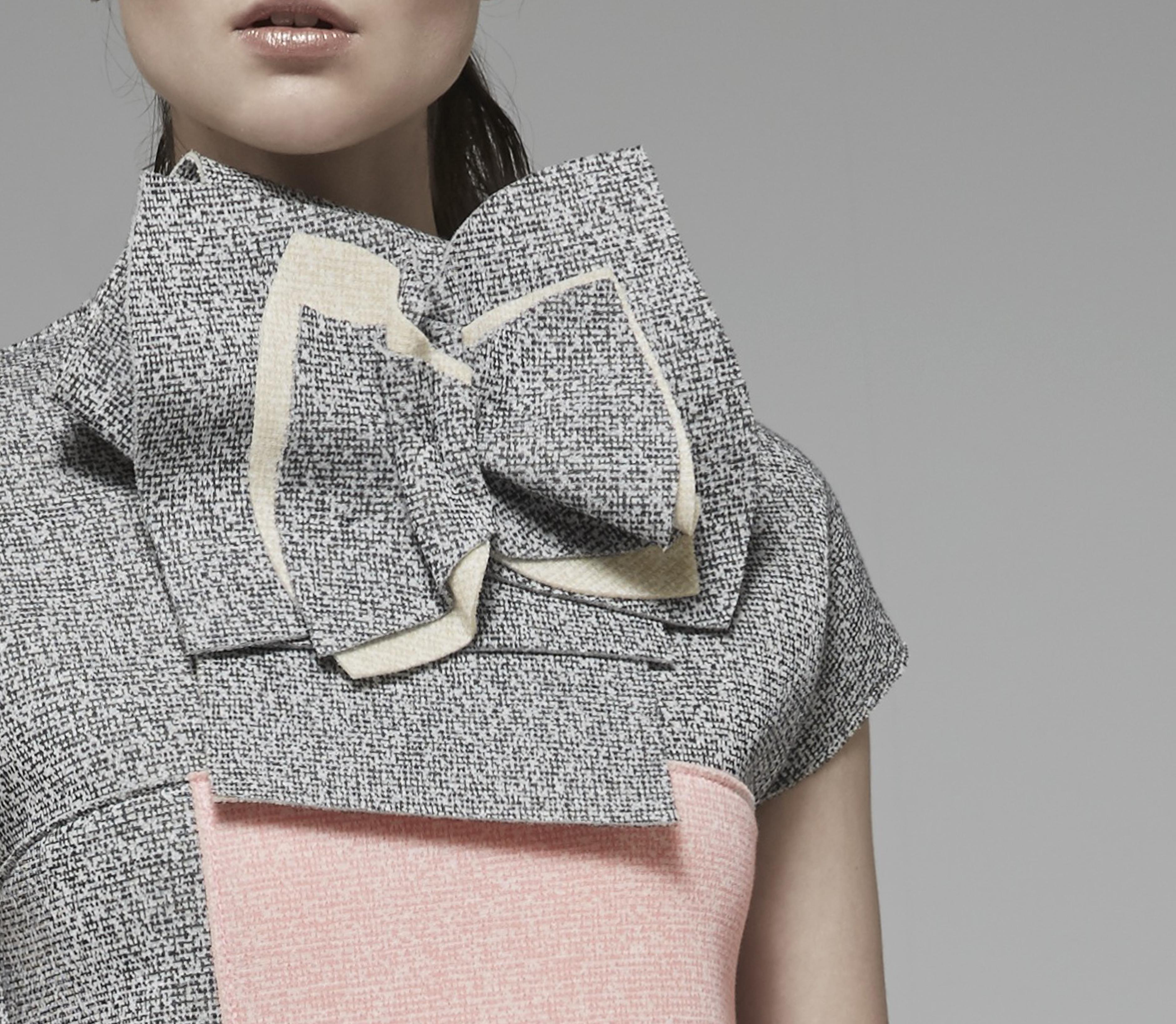 Bow Collar Tweed Dress